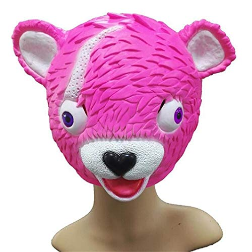 SUJING Novelty Halloween Costume Party Latex Animal Head Mask Pink Bear -