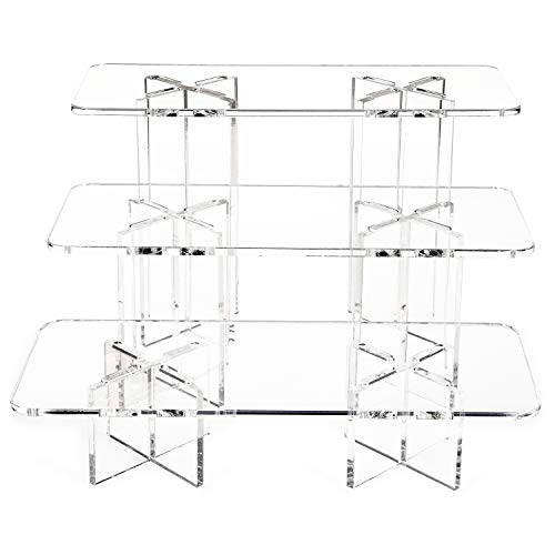 Clear Choice, Set of 3 Acrylic Rectangle Disassemble Riser Display Stand w/8x4 Bases Multipurpose Tabletop Risers for Displaying Personal or Business Decor, Cupcakes | Clear, Stable