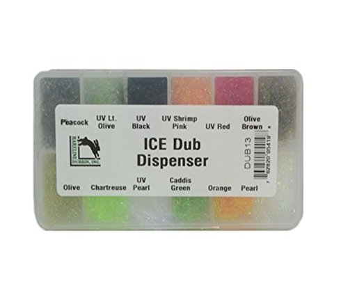 Fly Tying Dubbing - Hareline Ice Dub - Dispenser W/ 12 Popular Colors