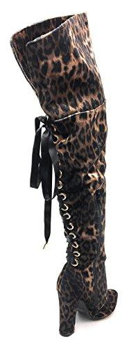 Bambu Kvinna Hög Klack Korsett Snörning Tillbaka Lårkickkängor Madam-46 Leopard