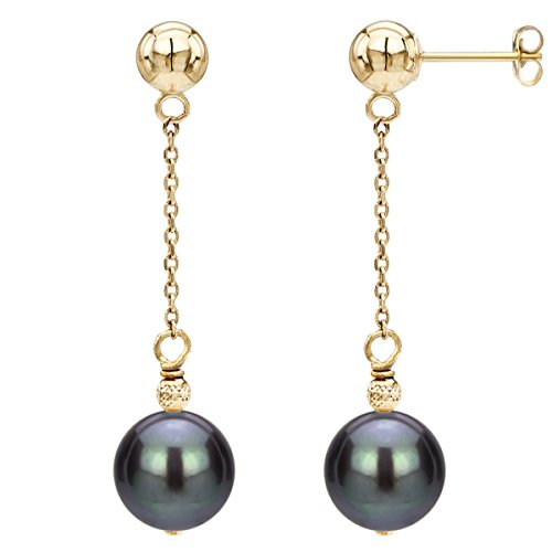 14K Yellow Gold Ball Stud Dyed Black Freshwater Cultured Pearl Dangle Earrings Set for Women (Ring Yellow Pearl Gold 14k)