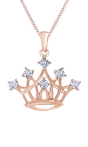 Jewel Zone US White Diamond Crown Pendant Necklace in 10k Rose Gold (0.03 Cttw)