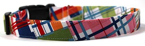 Lake House Plaid, Summer Shirt Pattern Designer Dog Collar, Adjustable Handmade Fabric Collars (L)