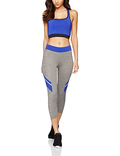 IRIS & LILLY Mallas Deportivas para Mujer Gris (Grey Marl/cobalt Blue)