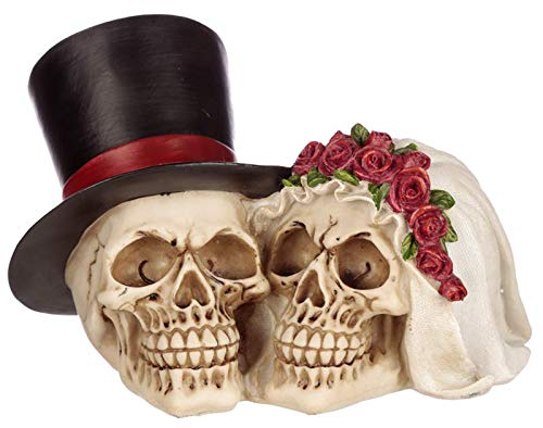 Puckator Bride and Groom Skull Head - Gothic Figurine - Cool Wedding Ornament