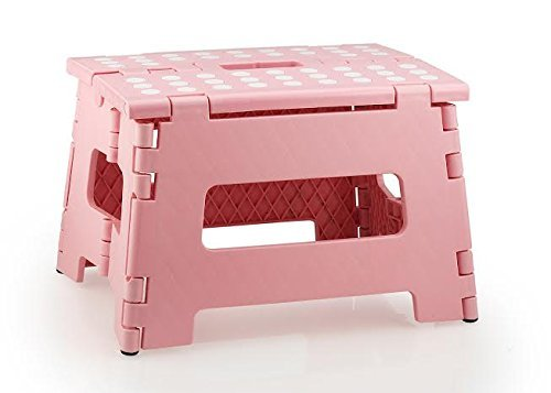 StepSafe? High Quality Non Slip Folding Step Stool For Kids and Adults with Handle- 9 in Height, Holds up to 300 Lb! (pink) by StepSafe by StepSafe