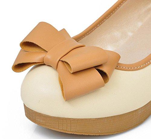 HYLM Womens damas bajo bloque gatito talón mary jane estilo flor cuero forrado trabajo tribunal zapatos beige