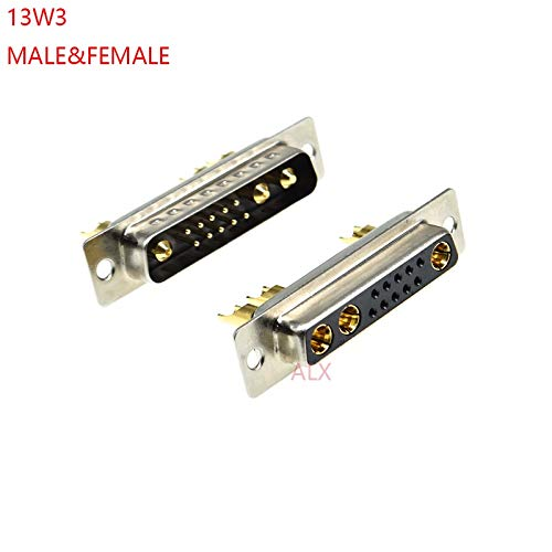 Gimax 1PCS 13W3 30A Gold plated MALE FEMALE high current CONNECTOR D-SUB adapter solder type 10+3 plug jack high power 13 Position - (Color: 1pcs female)