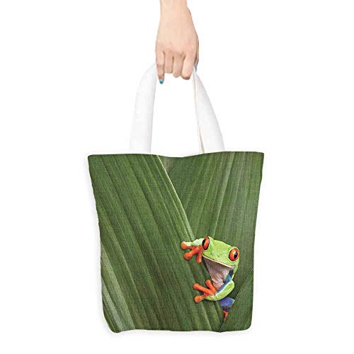 Heavy Duty Shopping Tote Bag,Animal Red Eyed Tree Frog Hiding in Exotic Macro Leaf in Costa Rica Rainforest Tropical Nature,Canvas Shopping Beach Cloth Tote,16.5