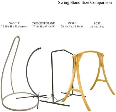 Hatteras Hammocks SWSC1T Steel Single Swing Stand - Taupe - 8 ft Tall - 350 lbs Weight Capacity