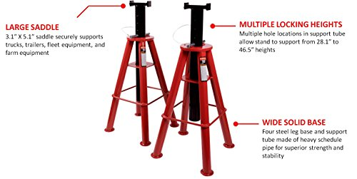 Sunex 1410 10-Ton, High Height, Pin Type, Jack Stands, Pair