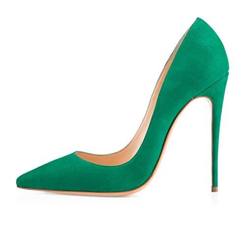 Edefs Mode Des Femmes À La Main-aso Kate 120mm Bout Pointu Partie Classique Pompes Talon Mince Chaussures À Talon Bleu Vert-sl