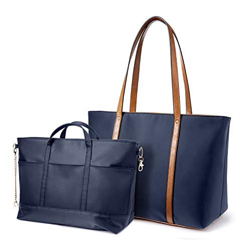 LOVEVOOK Tote Bag for Women Oxford Nylon Laptop Bag Travel Shoulder Bag(Blue Composite)