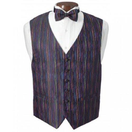 Mardi Gras Multicolor Tuxedo Vest and Bow Tie Size XXLarge
