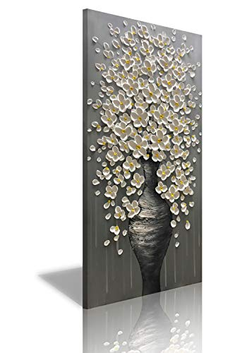 Diathou 40x20-inch Hand-Painted 3D White Flower Blooming Oil Painting for Living Room, Dining Room and Office Bedroom Contemporary Flower-Framed Wall Art