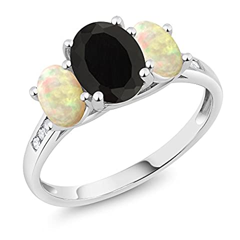 10K White Gold Diamond Accent Oval Black Onyx White Ethiopian Opal 3-Stone Ring 1.89 Ct, Available in size (Oval Cut Black Onyx Ring)