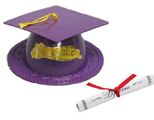 Oasis Supply Graduation Cap Cake Topper with Diploma, Purple (Topper Plastic Hat)