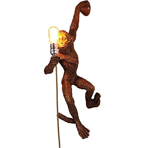 HOMEE Wall lamp- american village creative resin monkey wall lamp living room children bedroom bedroom bedside corridor imitation animal wall lamp (color optional) --wall lighting decorations,A by HOMEE