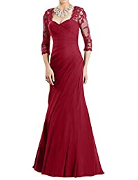 Gorgeous Bridal A-line 3/4 Sleeves Lace Mother of the Bride Evening Dresses