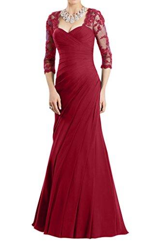 Gorgeous Bride Hochwertig Halb Aermel Etui Chiffon Spitze Lang Brautmutterkleid Abendkleid Festkleid Weinrot DgxEm8uY