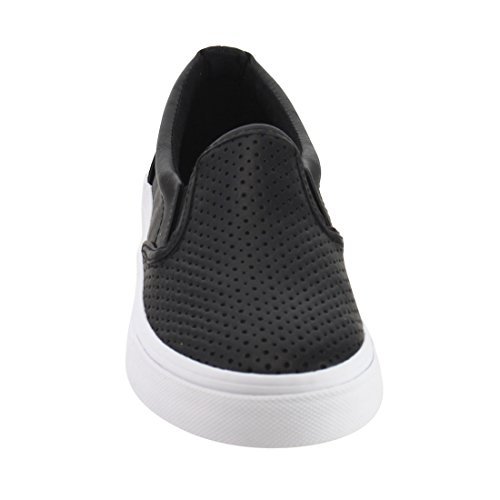 White Women's Pu Black Sole Shoes Shoes On Tracer Slip Soda ZXwqR