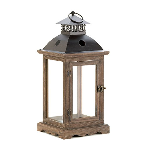 Boomer888 Large Antique Country Style Wood Frame Pillar Brown Candle Holder Lantern Decorative Rustic Dress up Your Home, Indoor Outdoor Size 8 x 8 x 18.5 inch with Metal Cover Diamond Lattice