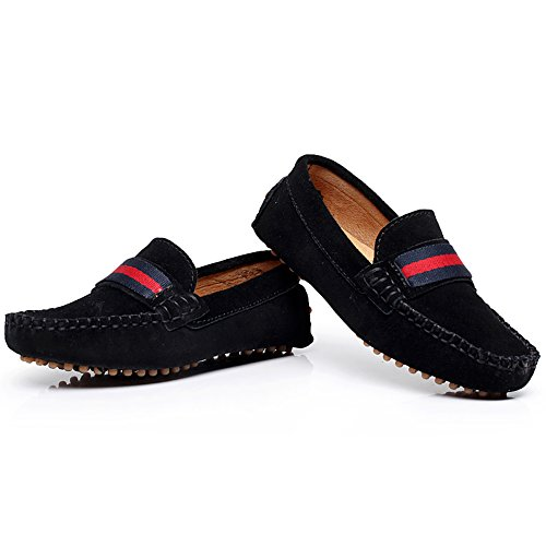 Image of Shenn Boys Girls Cute Strap Slip-On Comfortable Dress Suede Leather Loafer Flats