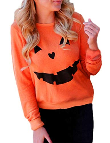 (Women's Halloween Pumpkin Face Long Sleeve Sweatshirts Casual Pullover Tops Size Large (Orange))