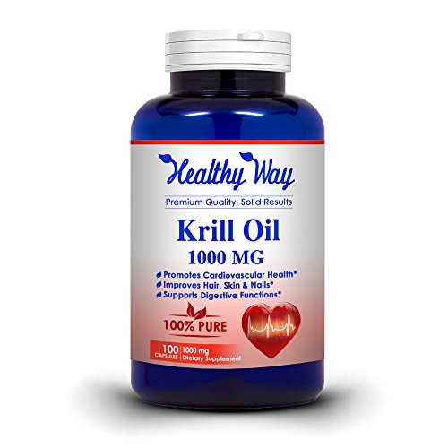 Healthy Way: Pure Krill Oil 1000mg With Astaxanthin & Omega 3 100 Capsules - Rich in DHA & EPA 100% Purifeied no Mercury