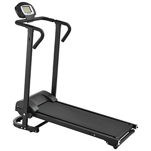 Manuell Laufband mit LCD-Display Klappbar Fitnessgerät Klappbar Heimtrainer (Schwarz)