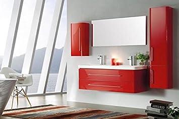 Ensemble Salle De Bain Double Vasque Laque Rouge 120 Cm Emy Rouge