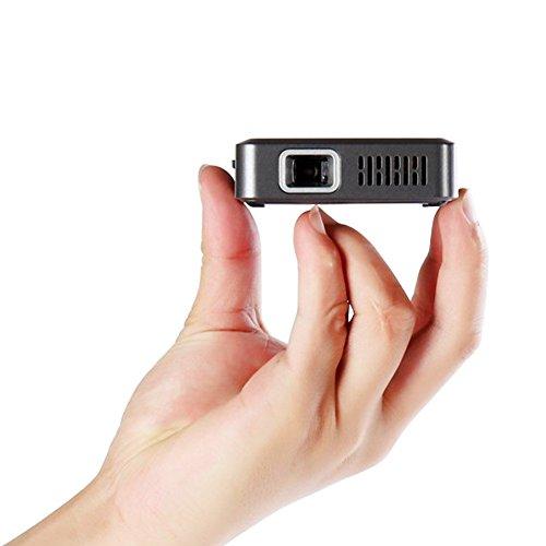 Ryham Super-Mini-DLP-Projektor mit eingebautem 3000mAh Akku und Stativ, 20.000 Stunden Lebensdauer der LED, bewegliche Taschen-Film und Unterhaltung Heimkino -Schwarz