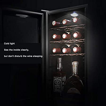 Enfriador vinos Refrigerador vino independiente y empotrado para 18 botellas con sistema enfriamiento avanzado Funcionamiento silencioso Luz interior azul Almacene fácilmente botellas más grandes