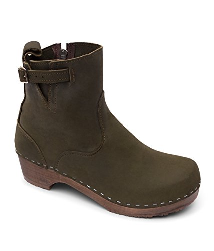 Swedish Low Heel Wooden Clog Boots for Women | Manhattan in Olive by Sandgrens, size US 9 EU 39 by Sandgrens