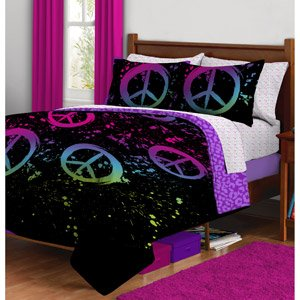 Teens Twin Bed (Black Purple Pink Peace Sign Twin Girls Comforter Bed in a Bag Set by Morgan Teen )