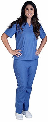Natural Workwear Uniform Unisex Medical Nurse Scrub Set, Ceil Blue 38749-Large