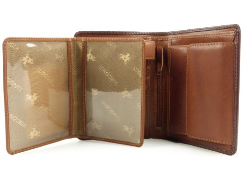 amp; Quality LEATHER Collection WALLET Boxed Gift MENS Torino Tan VISCONTI Stylish Top Brown by Sqd7XS