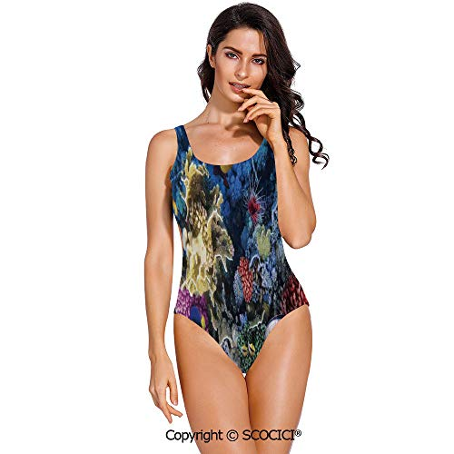 (SCOCICI Swimsuit Bikini Colorful Coral Reef and Fishes Colony in Red Sea Egypt)