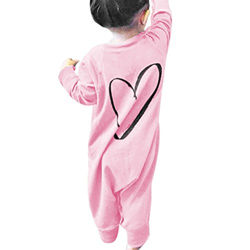 Chinatera Baby Girls Fall Clothes Love Printed Long Sleeve Cotton Soft Romper Newborn Jumpsuit (18-24 M, Pink)