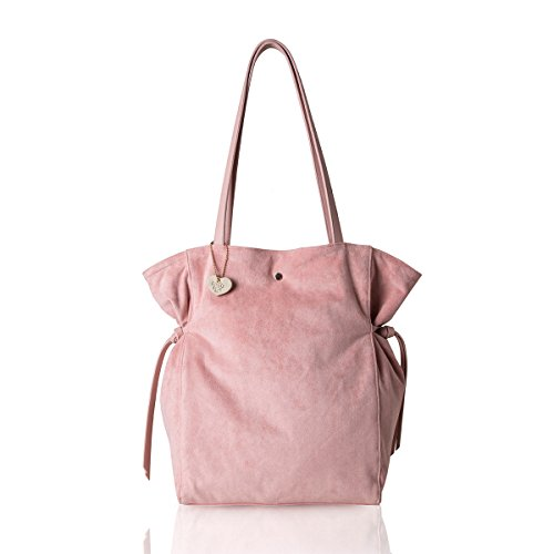The Lovely Tote Co. Women's Strap Suede Bag Side Ties Top Handle Tote (One, Blush)