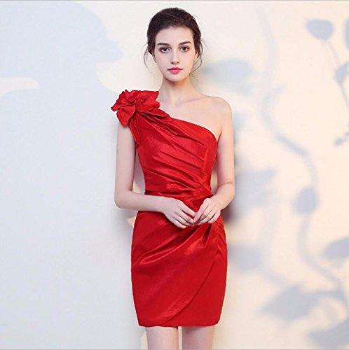 WBXAZL Coreano Hombro Longitud Corto Vestido de Dama de Compañía de Banquetes Conferencia Anual, la Cadera Vestido, Vestido de Noche, Formación de Bolsa, ...