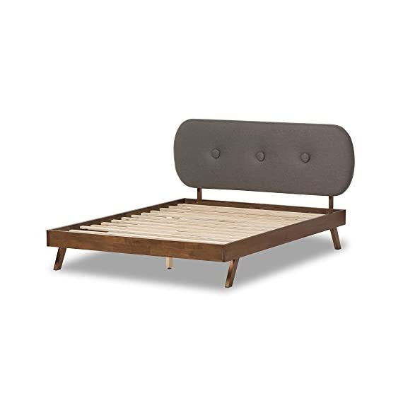 Baxton Studio Natalle Solid Walnut Wood Fabric Upholstered Platform Bed, King, Grey - Mid-century platform bed Walnut brown wood finishing footboard and side rails Grey polyester fabric upholstered headboard - bedroom-furniture, bedroom, bed-frames - 415gLdlokwL. SS570  -