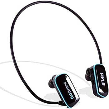 Pyle Flextreme Waterproof Sports Wearable MP3 Headset Music Player 8GB Underwater Swimming Jogging Walking Gym Earphones Earbuds Rechargeable Comfortable Flexible Headphones USB Connection (PSWP14BK)