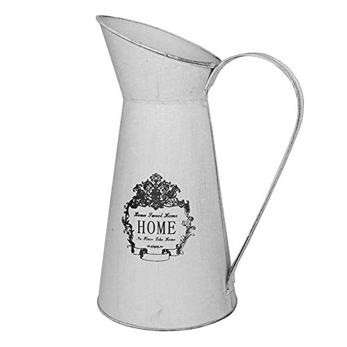 Pitcher Farm (Yoillione French Pitcher Vase, Vintage Pitcher Vase, Metal Farmhouse Pitcher Vase, Decorative Jug Flower Pitcher for Vase Decor, Greyish White)