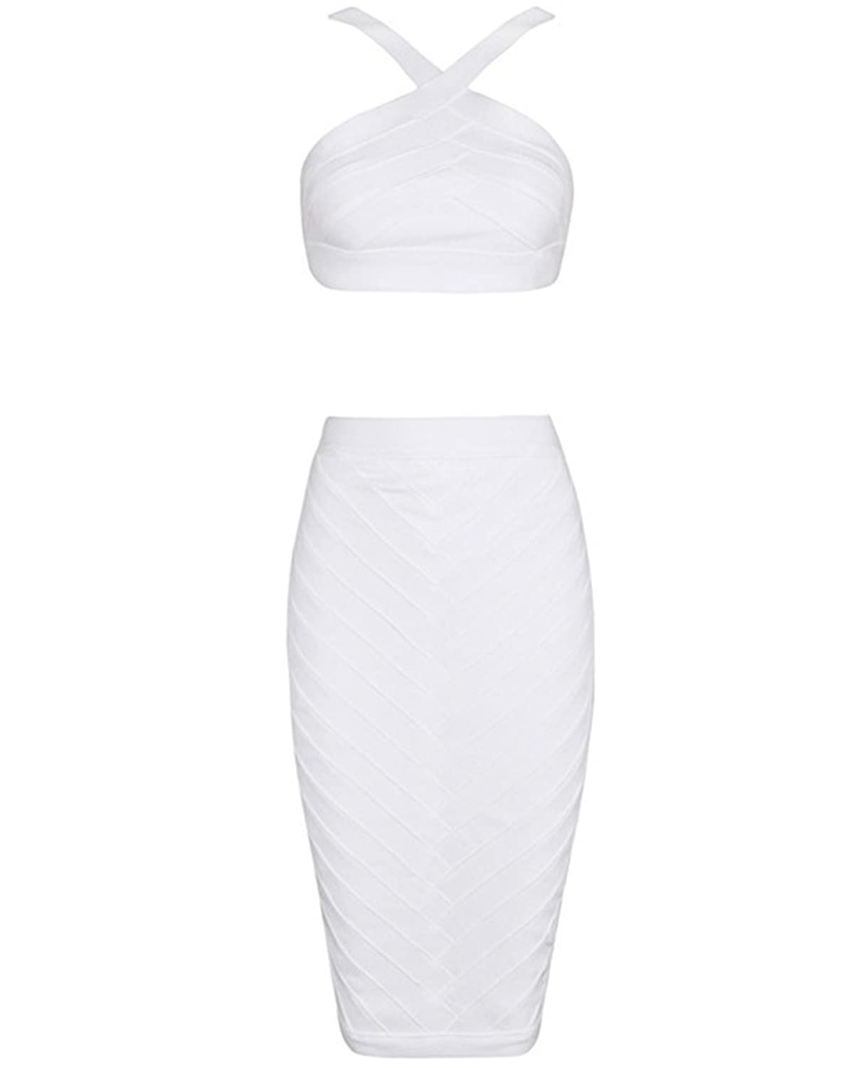 f682f43c1 80%OFF Whoinshop Womens Crop Top Midi Skirt Outfit Two Piece Bodycon  Bandage Dress