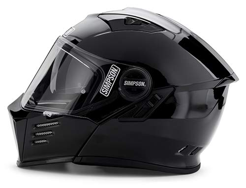 Simpson 2019 MOD Bandit Helmet (Flat Matte Black, Large) Modular function, Communication system ready, Internal sun shield, Multiple adjustable intake vents, Smoke tinted internal sun shield