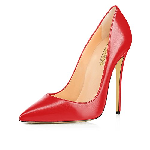 Women's High Heel Stiletto Pointed Toe Pumps (Red) - 7