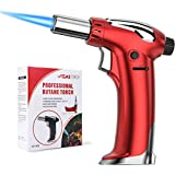 CAVN Butane torch, Refillable Kitchen Blow Torch Lighter with Adjustable Flame for Cooking Creme Brulee, Meat, Seafood, Pastries, Desserts, Blazing, Soldering, Baking, Camping, BBQ, DIY, (Butane not Included) (Red)