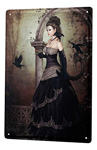 Tin Sign Metal Poster Gothic Raven Black Woman Dream World Vintage Decoration 8X12""