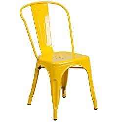 Flash Furniture Yellow Metal Indoor Outdoor Stackable Chair